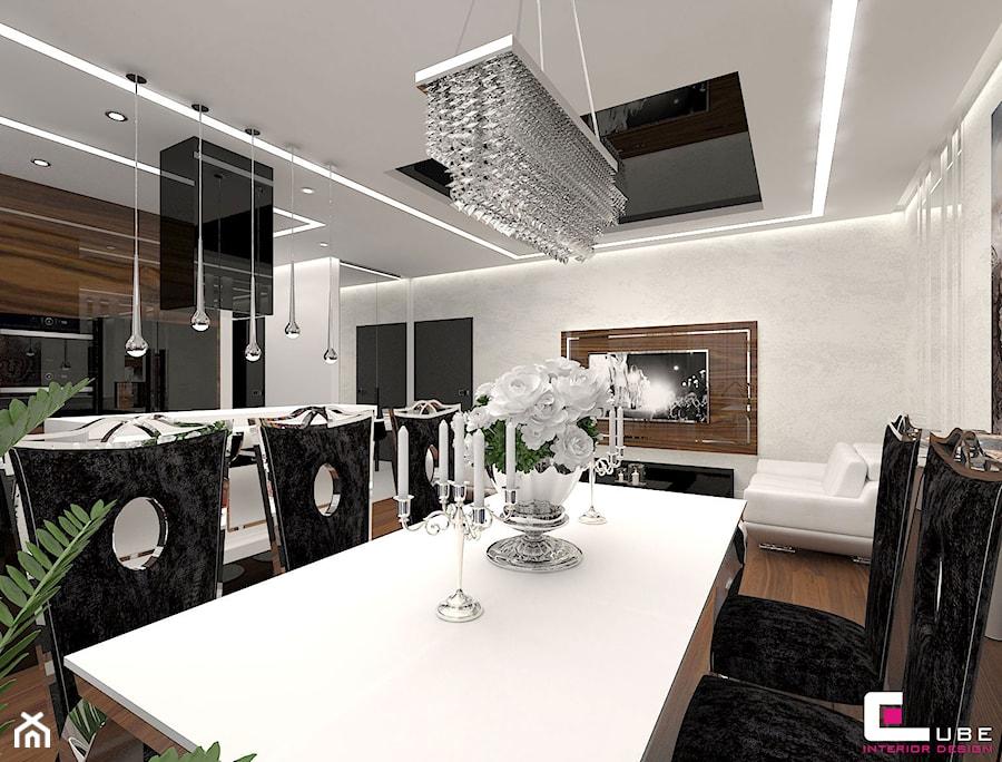 Aranżacje wnętrz - Jadalnia: Mieszkanie w Warszawie - Duża otwarta biała jadalnia w kuchni w salonie, styl glamour - CUBE Interior Design. Przeglądaj, dodawaj i zapisuj najlepsze zdjęcia, pomysły i inspiracje designerskie. W bazie mamy już prawie milion fotografii!