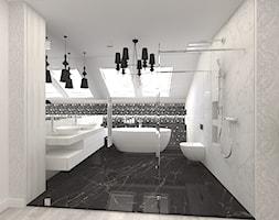 Dom w Kępie Okrzewskiej - Średnia łazienka na poddaszu w domu jednorodzinnym z oknem, styl glamour - zdjęcie od CUBE Interior Design