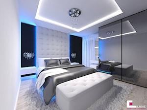 Mieszkanie w Mińsku Mazowieckim 70 m2 - Średnia biała czarna sypialnia małżeńska, styl nowoczesny - zdjęcie od CUBE Interior Design