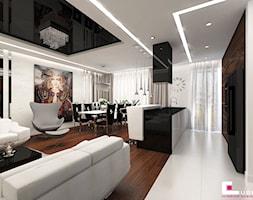 Mieszkanie w Warszawie - Średnia otwarta biała kuchnia jednorzędowa w aneksie z wyspą z oknem, styl glamour - zdjęcie od CUBE Interior Design