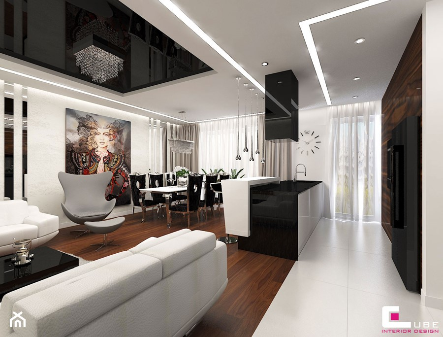 Aranżacje wnętrz - Kuchnia: Mieszkanie w Warszawie - Średnia otwarta biała kuchnia jednorzędowa w aneksie z wyspą z oknem, styl glamour - CUBE Interior Design. Przeglądaj, dodawaj i zapisuj najlepsze zdjęcia, pomysły i inspiracje designerskie. W bazie mamy już prawie milion fotografii!