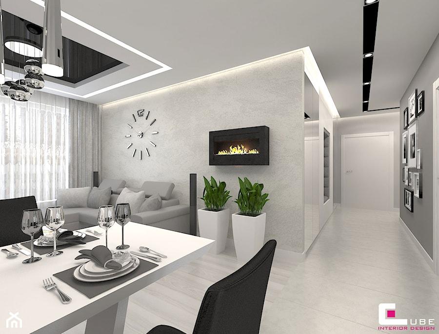 Mieszkanie 70 m2 w Warszawie - Średni szary salon z jadalnią, styl nowoczesny - zdjęcie od CUBE Interior Design