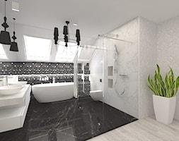 Dom w Kępie Okrzewskiej - Duża biała czarna łazienka na poddaszu w domu jednorodzinnym z oknem, styl glamour - zdjęcie od CUBE Interior Design