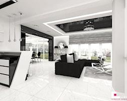 Dom w Elblągu - Mały biały salon z jadalnią, styl glamour - zdjęcie od CUBE Interior Design