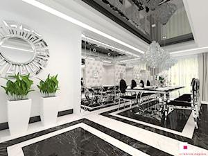 Dom w Chojnowie - Duża otwarta biała jadalnia jako osobne pomieszczenie, styl art deco - zdjęcie od CUBE Interior Design