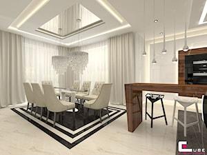 Dom pod Zambrowem - Średnia otwarta biała jadalnia w kuchni, styl nowoczesny - zdjęcie od CUBE Interior Design