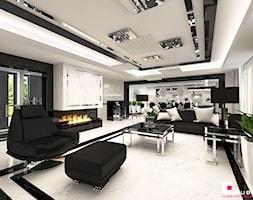 Projekt wnętrz domu w Chojnowie - Duży biały czarny salon z kuchnią z jadalnią, styl glamour - zdjęcie od CUBE Interior Design