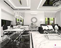 Mieszkanie pokazowe w Konstancinie-Jeziornie - Średnia otwarta biała jadalnia w salonie, styl glamour - zdjęcie od CUBE Interior Design