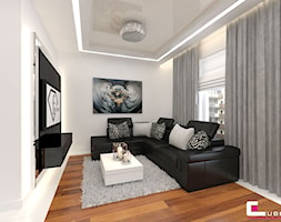 Mieszkanie w Rzeszowie - Mały biały salon, styl glamour - zdjęcie od CUBE Interior Design