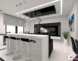Mieszkanie 65 m2 w Warszawie - Mały biały salon z jadalnią, styl nowoczesny - zdjęcie od CUBE Interior Design