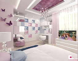 Projekt wnętrz domu w Wołominie - Średni szary różowy pokój dziecka dla dziewczynki dla ucznia dla malucha dla nastolatka, styl glamour - zdjęcie od CUBE Interior Design