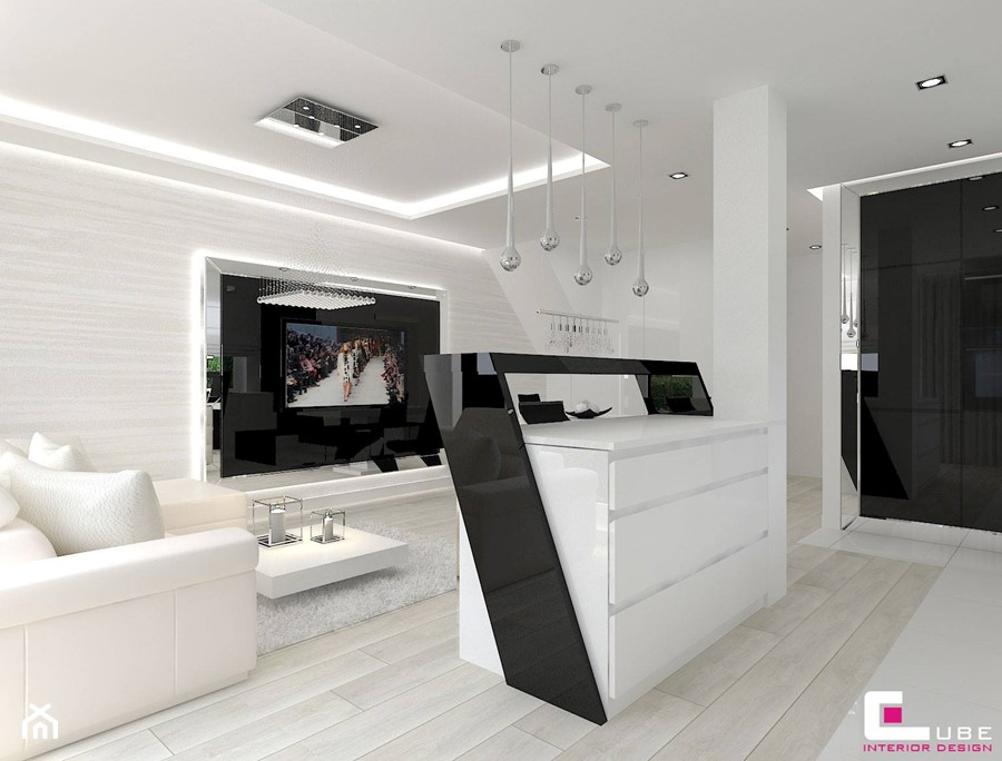 Dom w Markach - Mały biały salon, styl nowoczesny - zdjęcie od CUBE Interior Design
