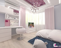 Projekt wnętrz domu w Wołominie - Średni szary pokój dziecka dla dziewczynki dla ucznia dla malucha dla nastolatka, styl glamour - zdjęcie od CUBE Interior Design
