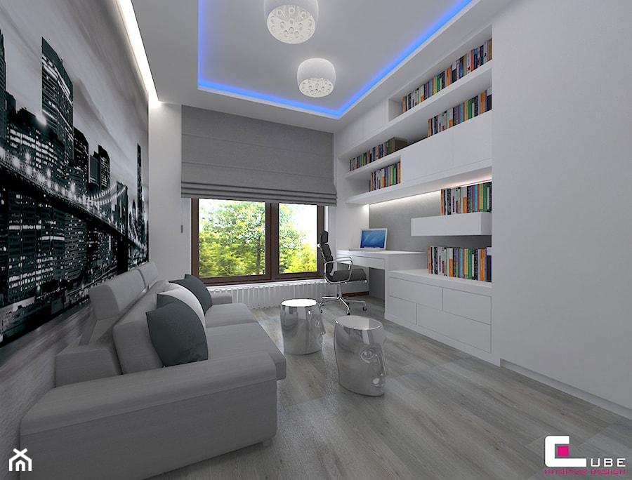 Mieszkanie w Nowej Woli pod Warszawą - Średnie czarne białe biuro kącik do pracy w pokoju, styl nowoczesny - zdjęcie od CUBE Interior Design