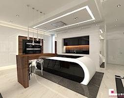 DOM Z ANTRESOLĄ - Duża otwarta biała kuchnia w kształcie litery l z wyspą, styl art deco - zdjęcie od CUBE Interior Design