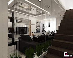 Dom na Zaciszu - Średni biały salon z jadalnią, styl nowoczesny - zdjęcie od CUBE Interior Design