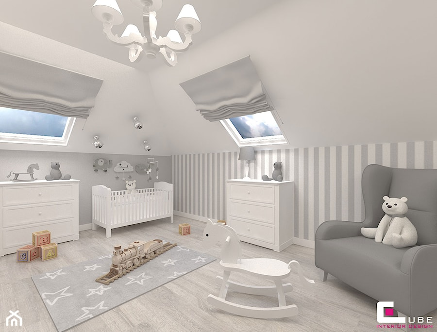 Dom w Kępie Okrzewskiej - Duży szary pokój dziecka dla chłopca dla niemowlaka, styl klasyczny - zdjęcie od CUBE Interior Design