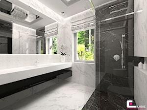Projekt wnętrz domu w Wołominie - Średnia biała czarna łazienka z oknem, styl glamour - zdjęcie od CUBE Interior Design