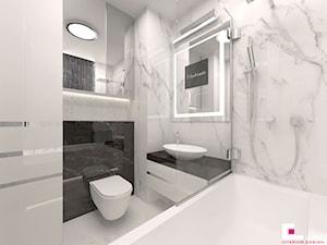 Mieszkanie pokazowe w Konstancinie-Jeziornie - Mała biała czarna łazienka na poddaszu w bloku w domu jednorodzinnym bez okna, styl nowoczesny - zdjęcie od CUBE Interior Design