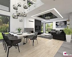DOM W KOBYŁCE - Duża otwarta biała szara jadalnia w salonie, styl nowoczesny - zdjęcie od CUBE Interior Design