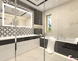 Projekt wnętrz domu - Średnia łazienka w bloku w domu jednorodzinnym z oknem, styl nowoczesny - zdjęcie od CUBE Interior Design