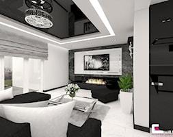 Dom w Elblągu - Średni szary biały salon, styl glamour - zdjęcie od CUBE Interior Design