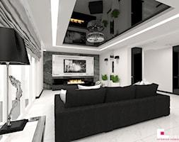 Dom w Elblągu - Średni biały salon, styl glamour - zdjęcie od CUBE Interior Design
