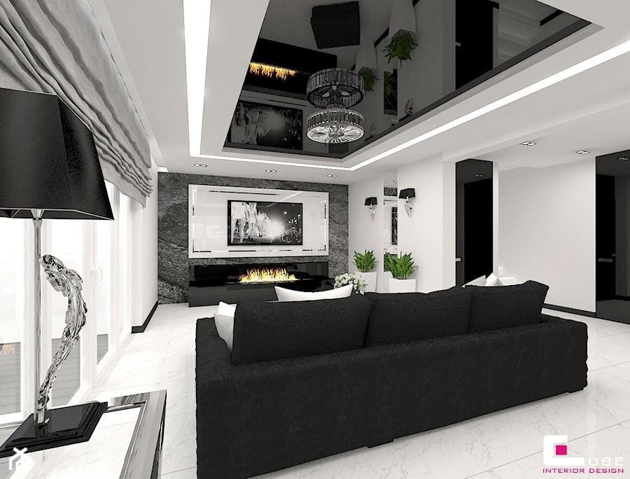 Aranżacje wnętrz - Salon: Dom w Elblągu - Średni biały salon, styl glamour - CUBE Interior Design. Przeglądaj, dodawaj i zapisuj najlepsze zdjęcia, pomysły i inspiracje designerskie. W bazie mamy już prawie milion fotografii!