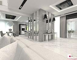 Projekt wnętrz domu w Wołominie - Średni biały hol / przedpokój, styl glamour - zdjęcie od CUBE Interior Design