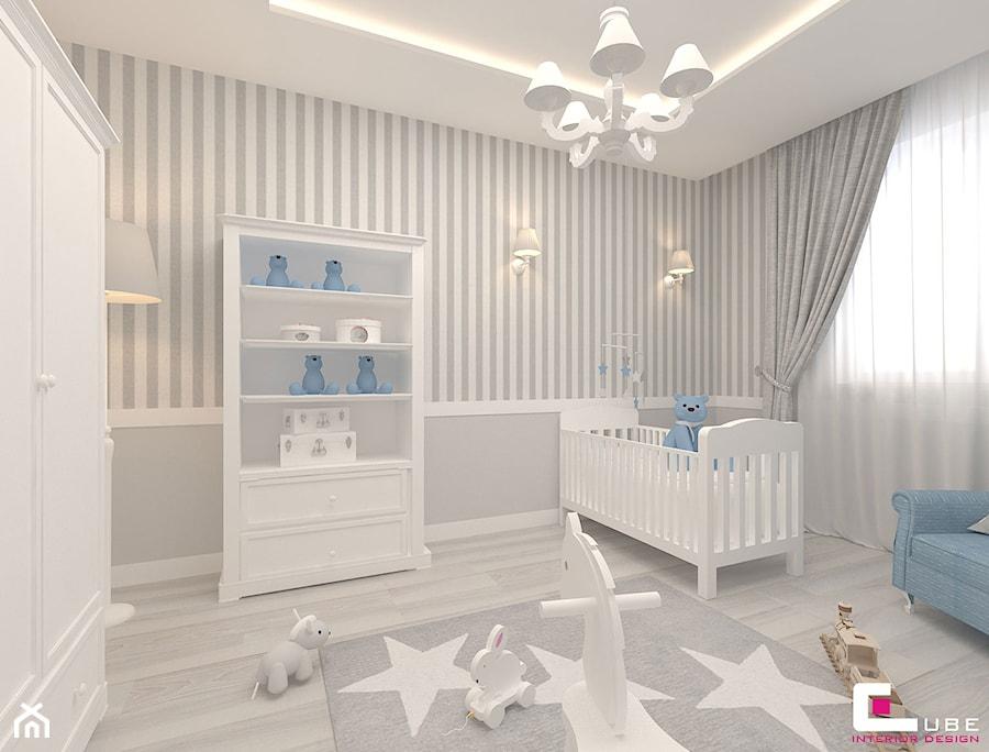 Aranżacje wnętrz - Pokój dziecka: Mieszkanie 70 m2 w Warszawie - Średni szary pokój dziecka dla chłopca dla niemowlaka, styl klasyczny - CUBE Interior Design. Przeglądaj, dodawaj i zapisuj najlepsze zdjęcia, pomysły i inspiracje designerskie. W bazie mamy już prawie milion fotografii!