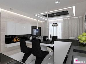 Mieszkanie 69 m2 w Siedlcach - Średnia otwarta beżowa jadalnia w salonie, styl nowoczesny - zdjęcie od CUBE Interior Design