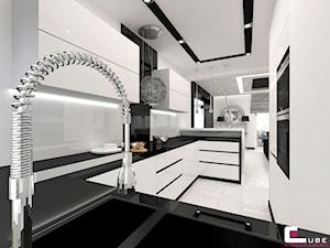 Dom w Elblągu - Średnia otwarta biała kuchnia w kształcie litery g, styl glamour - zdjęcie od CUBE Interior Design
