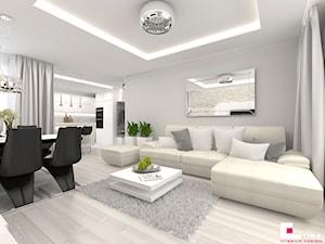 Projekt mieszkania w Siedlcach - Średni biały salon z kuchnią z jadalnią, styl nowoczesny - zdjęcie od CUBE Interior Design