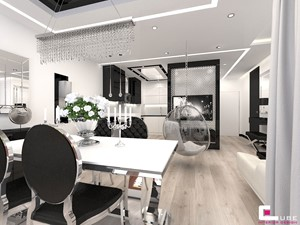 Mieszkanie w Trójmieście - Średnia otwarta szara jadalnia w kuchni w salonie, styl glamour - zdjęcie od CUBE Interior Design