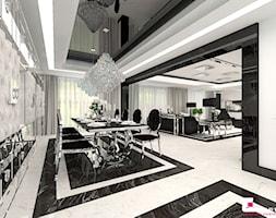 Projekt wnętrz domu w Chojnowie - Duża otwarta biała jadalnia jako osobne pomieszczenie, styl glamour - zdjęcie od CUBE Interior Design
