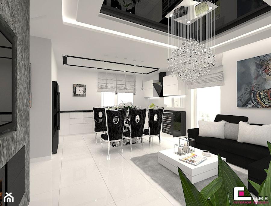 DOM POD LEGNICĄ - Duża otwarta biała jadalnia w kuchni w salonie, styl glamour - zdjęcie od CUBE Interior Design