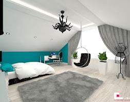 DOM POD LEGNICĄ - Duży szary niebieski pokój dziecka dla chłopca dla nastolatka, styl glamour - zdjęcie od CUBE Interior Design