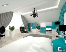 DOM POD LEGNICĄ - Duży szary niebieski pokój dziecka dla chłopca dla ucznia dla nastolatka, styl glamour - zdjęcie od CUBE Interior Design