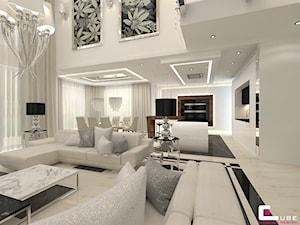 DOM Z ANTRESOLĄ - Duża biała kuchnia w kształcie litery l w aneksie z wyspą z oknem, styl art deco - zdjęcie od CUBE Interior Design