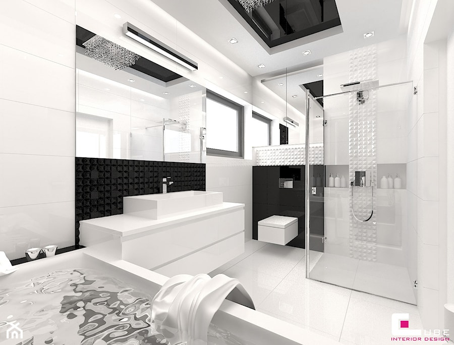 DOM POD LEGNICĄ - Średnia biała czarna łazienka na poddaszu w bloku w domu jednorodzinnym z oknem, styl glamour - zdjęcie od CUBE Interior Design