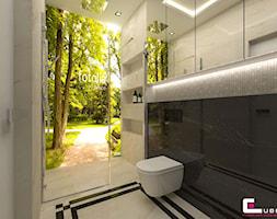 DOM Z ANTRESOLĄ - Mała czarna szara łazienka na poddaszu w bloku w domu jednorodzinnym bez okna, styl art deco - zdjęcie od CUBE Interior Design