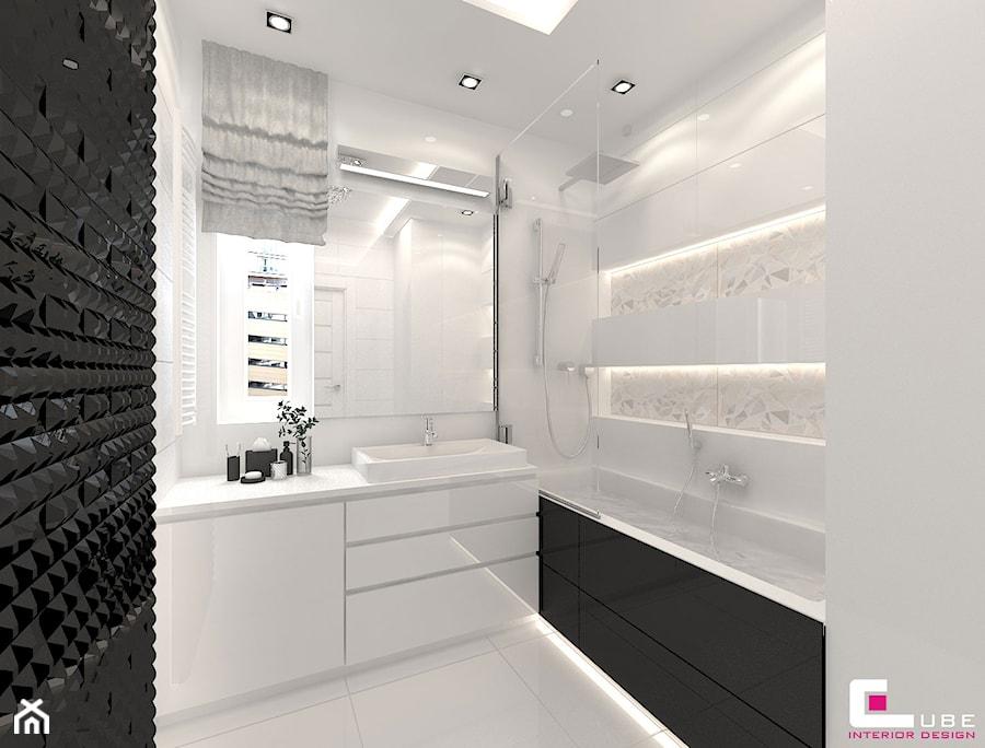 Aranżacje wnętrz - Łazienka: Mieszkanie 70 m2 w Warszawie - Mała biała łazienka na poddaszu w bloku w domu jednorodzinnym bez okna, styl nowoczesny - CUBE Interior Design. Przeglądaj, dodawaj i zapisuj najlepsze zdjęcia, pomysły i inspiracje designerskie. W bazie mamy już prawie milion fotografii!