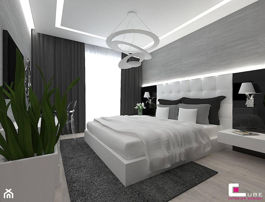 Dom w Lipkowie - Średnia szara sypialnia małżeńska z balkonem / tarasem, styl nowoczesny - zdjęcie od CUBE Interior Design