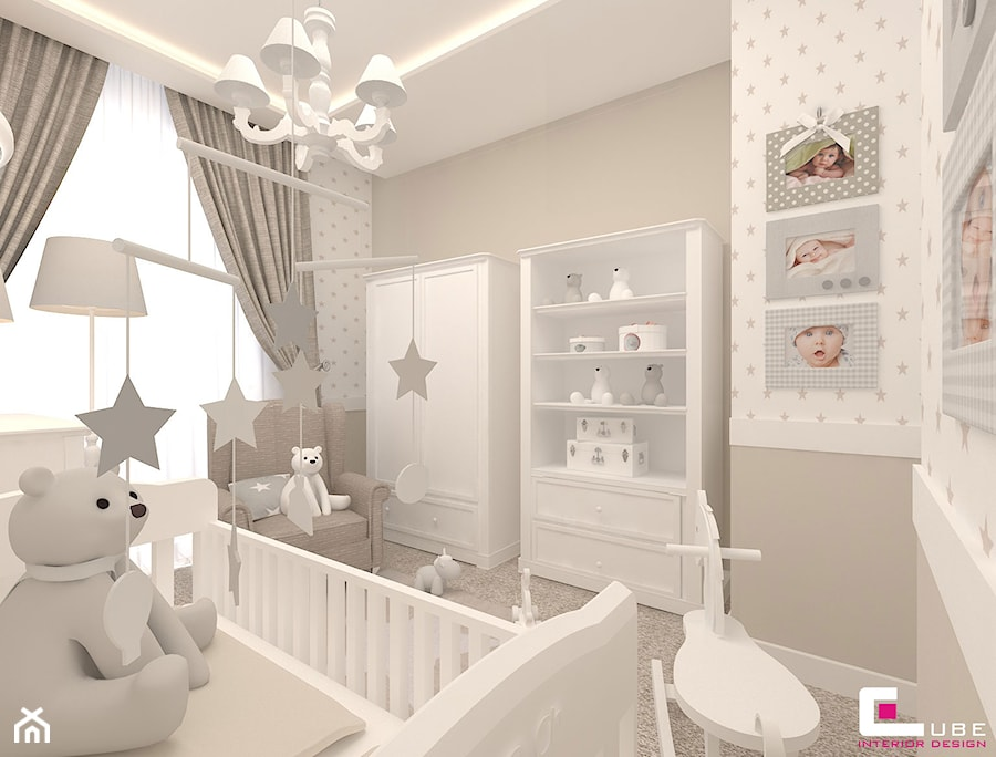 Aranżacje wnętrz - Pokój dziecka: Mieszkanie w Warszawie - Średni szary pokój dziecka dla chłopca dla dziewczynki dla niemowlaka, styl klasyczny - CUBE Interior Design. Przeglądaj, dodawaj i zapisuj najlepsze zdjęcia, pomysły i inspiracje designerskie. W bazie mamy już prawie milion fotografii!