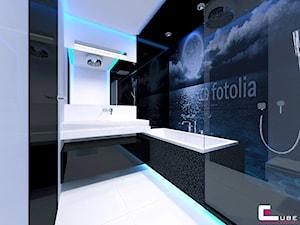 Mieszkanie w Mińsku Mazowieckim 70 m2 - Średnia biała czarna łazienka na poddaszu w bloku w domu jednorodzinnym bez okna, styl nowoczesny - zdjęcie od CUBE Interior Design