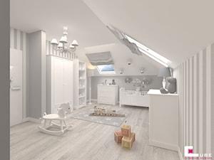 Dom w Kępie Okrzewskiej - Średni biały szary pokój dziecka dla chłopca dla niemowlaka, styl klasyczny - zdjęcie od CUBE Interior Design