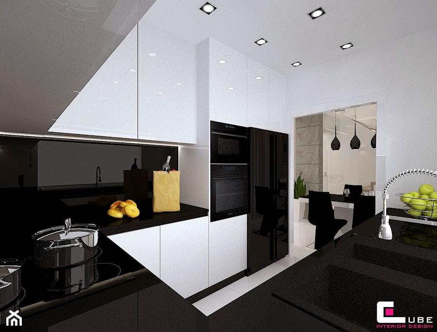 Dom w Lipkowie - Średnia otwarta biała kuchnia w kształcie litery u, styl nowoczesny - zdjęcie od CUBE Interior Design