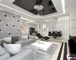 Projekt wnętrz domu - Mały szary salon z jadalnią, styl nowoczesny - zdjęcie od CUBE Interior Design