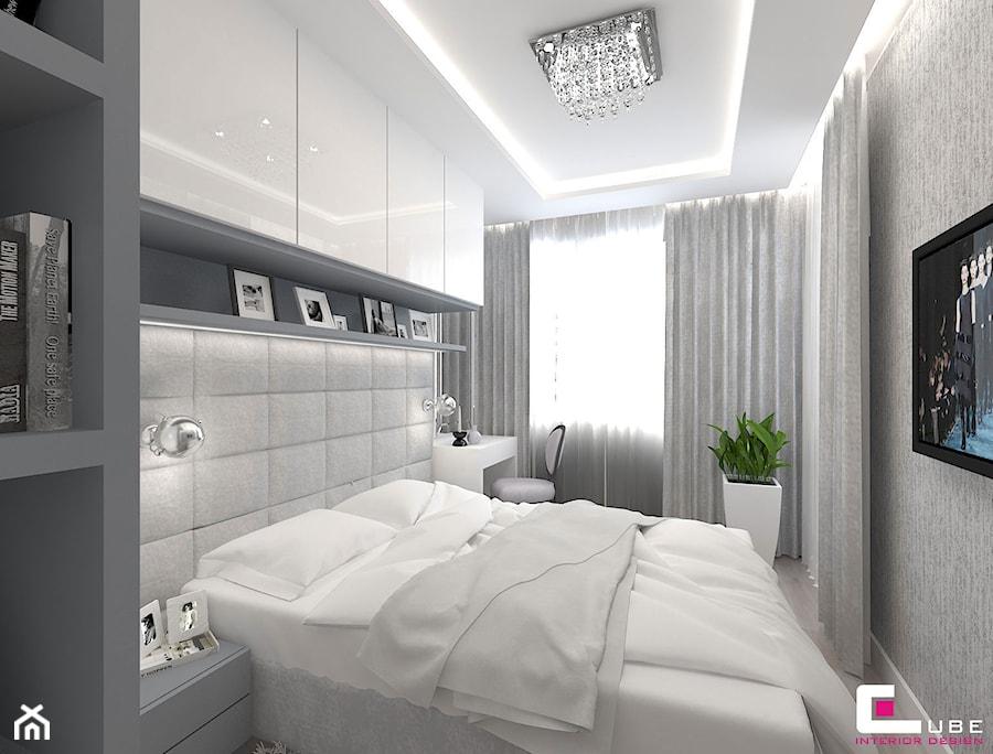 Mieszkanie 70 m2 w Warszawie - Średnia szara sypialnia małżeńska, styl nowoczesny - zdjęcie od CUBE Interior Design
