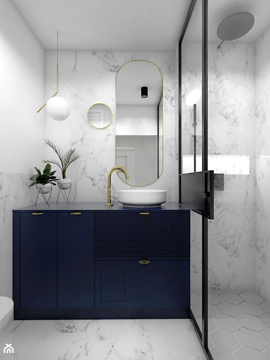 Mieszkanie - Gdańsk Nowa Morena - Mała biała łazienka w bloku w domu jednorodzinnym bez okna, styl eklektyczny - zdjęcie od Autors.KA